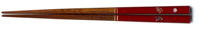 先角月うさぎ箸(赤)